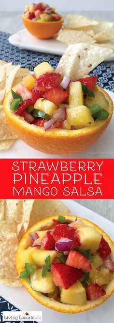 Fruit Salsa Recipe Easy fruit salsa recipe Sweet and spicy Strawberry Pineapple Mango Salsa is a fabulous healthy dip served in orange bowls Perfect party food Mango Pineapple Salsa, Pineapple Fruit, Mango Fruit, Strawberry Mango Salsa, Pineapple Ideas, Pineapple Recipes, Easy Fruit Salsa Recipe, Brunch, Healthy Snacks
