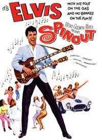 """Poster art from the 1966 movie """"Spinout"""" starring Elvis Presley as """"Mike McCoy,"""" a pop singer on the road who doubles as a part-time race car driver. Presley drove his race car in the Dodger Stadium Parking Lot in March 1966, filming scenes simulating the start and finish of the """"Santa Fe Road Race."""""""