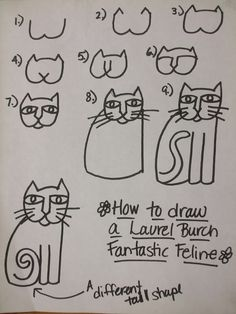 Rainbow Skies & Dragonflies: Laurel Burch inspired Cats - this handout was a big help to my graders learning to draw cats in the Burch style. Laurel Burch, Art Handouts, 2nd Grade Art, Art Worksheets, Art Watercolor, Art Lessons Elementary, Art Lesson Plans, Art Classroom, Art Plastique