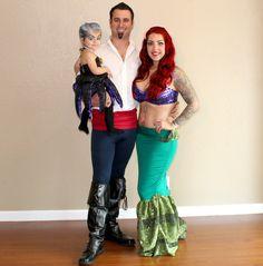 Little Mermaid Custom Halloween costumes. Prince Eric, Ariel, and Ursula