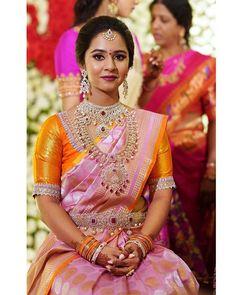 Latest Silk Sari Blouse Designs for South Indian Brides - Indian Fashion Ideas Half Saree Designs, Pattu Saree Blouse Designs, Blouse Designs Silk, Bridal Blouse Designs, Blouse Patterns, Bridal Silk Saree, South Indian Sarees, Indian Bridal Fashion, Bridal Outfits