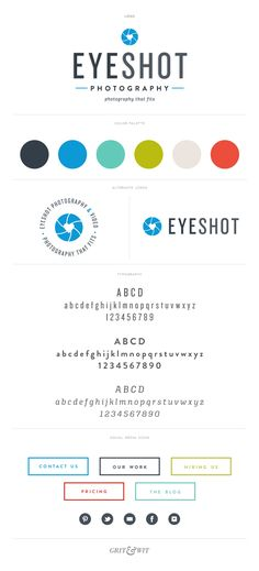 Branding for Eyeshot Photography: Love the modern look of this branding and the very vibrant and fun colour palette. Nice logo.