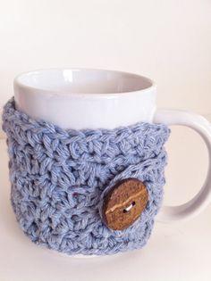 Denim Crochet Cozy Coffee Cup Mug Cozy Mothers by ValuableCr8tions, $10.00