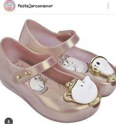3cfc0116015e Girl´s Beauty And The Beast Mrs. Potts and Chip Mary Jane Rose Gold Ballet  Flat Mini Jelly Shoes sz 10 kids toddler girl