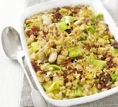 Use up slightly stale bread to make the crunchy topping for this easy bake