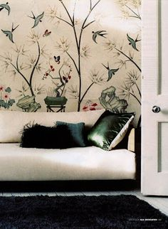 glorious Zuber wallpaper + contemporary furnishings