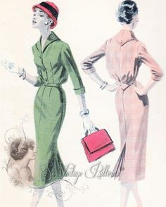 1950s  Chic Slim Dress Pattern Classy Tailored Dress With Back Kick Pleat Butterick 7812 Vintage Sewing Pattern Bust 32