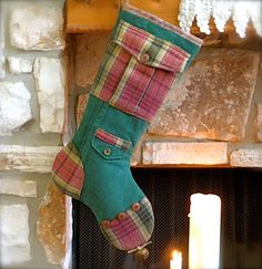 Mens Christmas Stocking   Mr Green Britches by ShabbyRanch on Etsy, $41.95