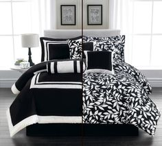 7 Pieces CAPRICE Black and White LEAF Comforter set Reversible 2 in 1 Bed-in-a-bag King Size Bedding Grand Linen,http://www.amazon.com/dp/B00G0N2HWA/ref=cm_sw_r_pi_dp_k-Sttb02FRS7S8VX