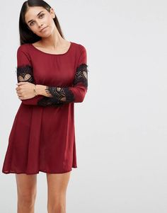 84de670e29df AX Paris Swing Dress With Lace Sleeve Detail