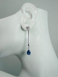 Earring JACKETS for Studs, Jackets for Diamonds, Bar Dangle Ear Jackets,14k White Gold London Blue Topaz Pear JD14KWLBT10x7PBAR