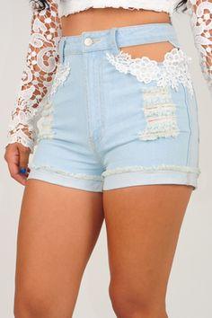 Lace Me Up Shorts: Light Denim GORGEOUS