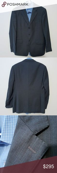 Paul Smith London Gray Pinstripe Sports Coat Great condition jacket. It does have some writing on one of the inside pockets. No other imperfections found. No trades.   Measurements taken while laying flat: Size: 48AB European (38S US*Based on measurements taken.) Color: Grey with burgundy pinstripes. Material: 70%Wool 30 % Polyester Chest (Unederarm to Underarm): 21 Waist: 20  Length (From Bottom of Collar): 29 Sleeves (Top of shoulder to end of cuff): 24.5 Shoulders (Seam to seam): 18.75…