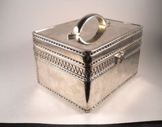 Silver Toned Vintage Trinket Box with Handle by MissPattisAttic