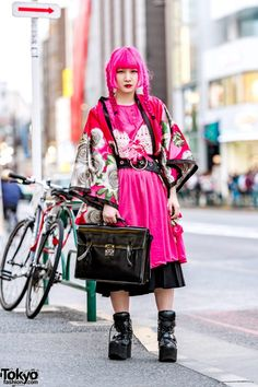 c431684d196b Pink & Black Street Style in Harajuku w/ Pink Twin Braids, Floral Kimono,