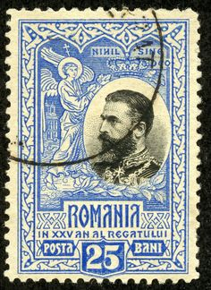 "Romania 1906 Scott 191 ultramarine & black ""King Carol I"" Anniversary of the Kingdom Old Ones, 25th Anniversary, Stamp Collecting, My Stamp, My Father, Postage Stamps, Art Forms, Old Things, Black King"