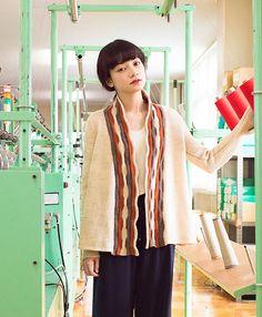 Hagoromo Cardigan by Olga Buraya-Kefelian | published by Yokota Co Ltd | knit using Daruma Genmou yarn #cardigan #handknit #knittingpattern #cardiganpattern #reversiblecollar #horizonalpleats #tucks #tucking #stripes #setinsleeve #aline