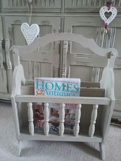 Vintage Magazine Rack.. Painted with Annie Sloan Chalk paint Country Grey .