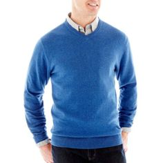 "<p>Our fine-gauge, v-neck sweater easily slips on over a button-front or tee for lightweight warmth whenever you need it.</p><div style=""page-break-after: always;""><span style=""display: none;"">"