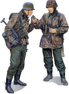 German Waffen SS at Poteau by Ron Volstead. Military Diorama, Military Art, Military History, Ww2 Uniforms, German Uniforms, Military Uniforms, German Soldiers Ww2, German Army, Soldado Universal