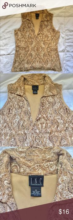 INC Sleeveless Collared Top Super Cute INC Sleeveless Collared Top with Paisley's   So sad this doesn't fit me anymore. You can dress it up or wear it casual with jeans. Size: Medium  good condition.   Questions? Please ask before purchasing. INC International Concepts Tops