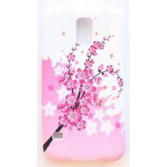 Galaxy S5 vaaleanpunaiset kukat silikonisuojus.