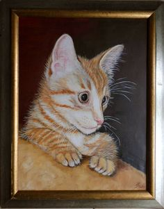 Cat portrait - Filutek my cat in 2000 when he was just a kitten. Oil painting.