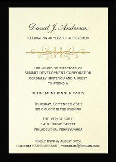 Elegant Black & White Retirement Party Invitations | Master McGraw ...