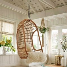 Awesome 7 Wonderful Hanging Chair Ideas For Rattan Furniture Inspiration Relax with a hanging chair at home, of course very exciting and soothing. Not only that, these chairs can also be a decoration that makes your home mo. Hanging Hammock Chair, Swinging Chair, Chair Swing, Hanging Chairs, Hanging Basket, Indoor Hammock, Indoor Outdoor, Wicker Porch Swing, Leather Chair With Ottoman