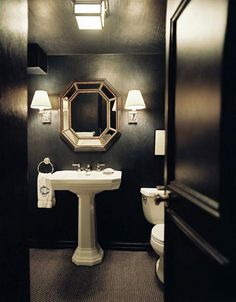 Small black bathroom.
