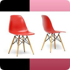Modern Azzo Black Plastic Mid-Century Shell Chair Set of 2 New