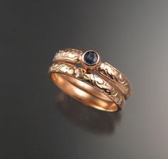 Natural Sapphire Wedding set 14k rose Gold by stonefeverjewelry, $499.00
