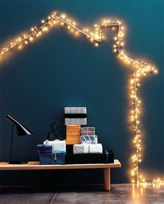 loving the idea of twirling fairy lights around a wire frame bent in any theme specific shape! Christmas In July, Christmas Lights, Teal Walls, Xmas Decorations, Fairy Lights, String Lights, Holiday Decor, Design, Home Decor