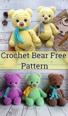 crochet toy Free Crochet Bear Patterns,Bear Amigurumi Crochet Pattern-I have rounded up a huge list of free crochet teddy bear patterns for you to get inspired by these cute and soft teddy bears. You could absolutely make them with your own crochet hooks. Crochet Teddy Bear Pattern Free, Teddy Bear Patterns Free, Knitted Teddy Bear, Crochet Animal Patterns, Stuffed Animal Patterns, Crochet Patterns Amigurumi, Free Crochet, Crochet Hooks, Easy Crochet Animals