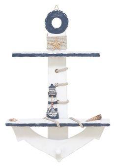 DIY inspiration-Lighthouse Anchor Shelf - Diy Home Crafts Nautical Bedroom, Nautical Bathrooms, Nautical Home, Nautical Anchor, Nautical Baby, Le Grand Bleu, Wood Anchor, Wall Decor Stickers, Diy Home Crafts