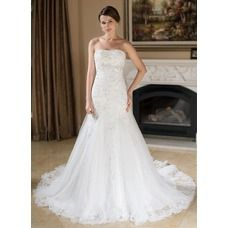 [€ 203.38] A-Line/Princess Sweetheart Chapel Train Satin Tulle Wedding Dress With Lace Beading Sequins (002000377)