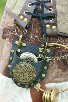 Steampunk Real Black Leather Fob Watch / compass Corset Pocket Holster Accessory