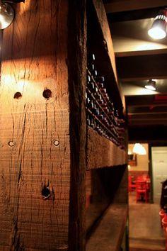 Barn wood wine rack, or beer rack. Railway Sleepers, Wood Wine Racks, Property Design, Wine Cellar, Barn Wood, Beams, Contemporary, Stone, Cool Stuff