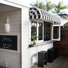 black and white awning / atlantic byron bay Kiosk, The Atlantic Byron Bay, Window Awnings, Outdoor Awnings, Beach Shack, Entrance Doors, Home Reno, Outdoor Areas, Beach House