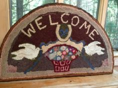 Antique Hand Hooked Rug Folky Cottage Design Flowers and Basket Mounted | eBay