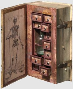 A Poison Cabinet?Carved out of a real book dating from the 1600s, the pages have been replaced by eleven drawers, each with a small wooden and silver knob and a paper label identifying a plant, and a glass jar clasped into place.The auction catalogue identified the book as a 'poisoner's cabinet', and much of the press coverage centered on its potential as an assassin's arsenal. However, many think that the plants included have, or were reputed to have curative as well as toxic properties…