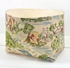 Your place to buy and sell all things handmade Fabric Storage Baskets, Fabric Bins, Basket Storage, Winnie The Pooh Nursery, Book Baskets, Basket Organization, Little Ones, Nursery Decor, Playroom