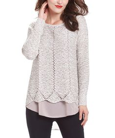 Loving this Gray Crochet Zip-Back Layered Tunic on #zulily! #zulilyfinds