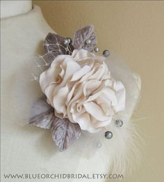 Bridal Fascinator Wedding Head Piece Ivory Grey Hair Clip, Hair Comb