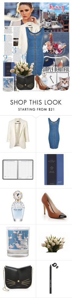 """""""Zip dress"""" by amethystes ❤ liked on Polyvore featuring WithChic, Mela Loves London, House of Doolittle, Smythson, Marc Jacobs, Chanel, Maison La Bougie, Ted Baker, Bobbi Brown Cosmetics and DenimDress"""