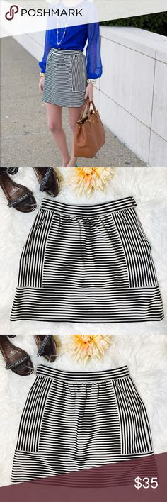 "Madewell Ponte Swivel Skirt In Stripe This stretchy striped skirt with soft gathers is a dream paired with tees, sweaters and chambray shirts. Consider your what-to-wear problems solved. Short, straight mini. Laid flat across @ waist: 13"", Length: 16"". NWOT Madewell Skirts Mini"