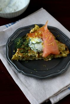 Scallion Matzah Brei With Smoked Salmon And Horseradish Cream From The Seasonal Jewish Kitchen By Amelia Saltsman
