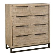 If you find yourself often out of storage space in your bedroom, we understand: between stashing spare sheets and tucking away a wardrobe, it often feels like there isn't enough space for everything a master suite holds. Here to help, this five-drawer chest is a great option for an on-trend touch in any bedroom thanks to its mixed material construction. Crafted from solid pine set on metal sled legs with brass-finished metal handles, this piece is perfect for an industrial-inspired look…