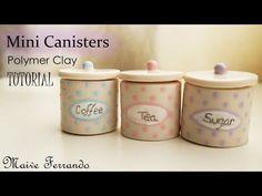 Miniature Polymer Clay Sugar, Tea & Coffee Canisters/Jars Tutorial - YouTube