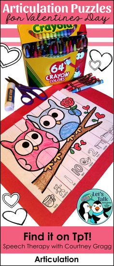 Valentine's Day puzzle strips for speech therapy! 62 print-and-go articulation pages!